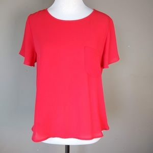 Lily White   Red Short Sleeve Blouse